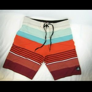 Body Glove Vapor Striped Board Shorts Swim Trunks